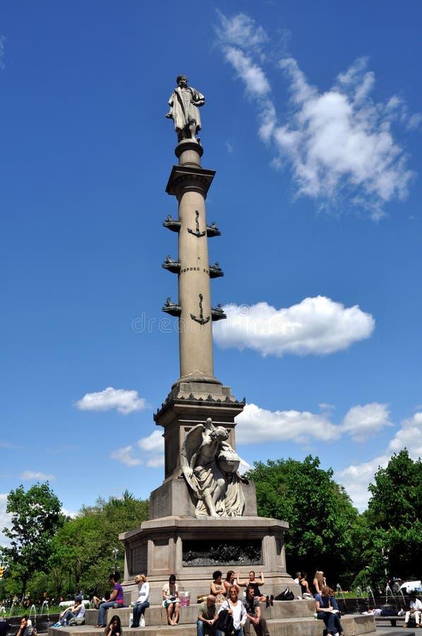 NYC : Fléau de Christopher Columbus images libres de droits
