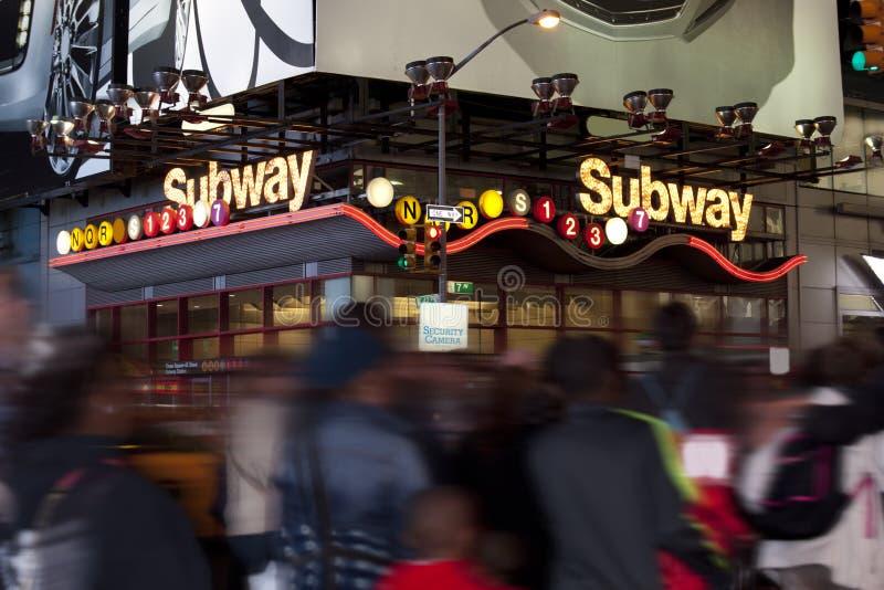NYC-gångtunnelingång royaltyfria foton