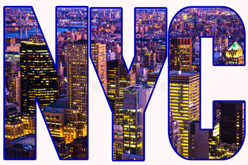 NYC Graphic. Text design using New York City night cityscape of buildings and lights for letters stock photo