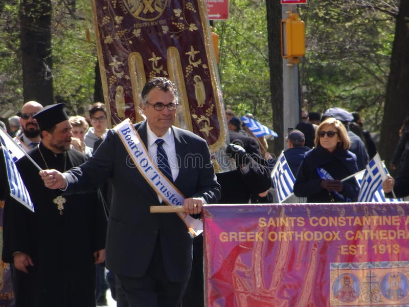 NYC Greek Independence Day Parade 2016 Part 2 2. The Federation of Hellenic Societies of Greater New York organizes the annual Greek Independence Day Parade in royalty free stock photos