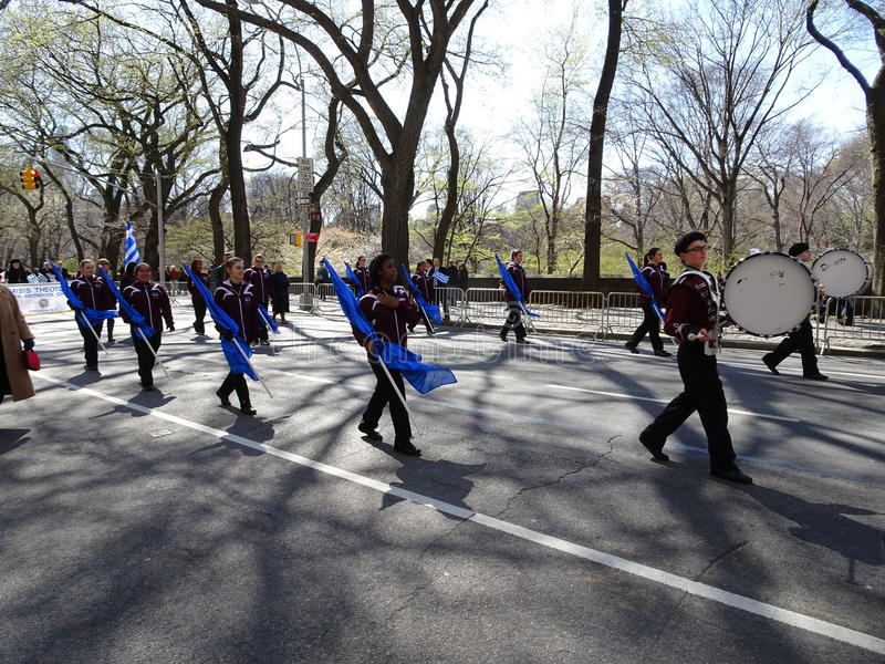 NYC Greek Independence Day Parade 2016 Part 2 11. The Federation of Hellenic Societies of Greater New York organizes the annual Greek Independence Day Parade in stock images