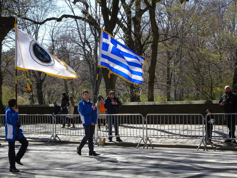 NYC Greek Independence Day Parade 2016 Part 2 17. The Federation of Hellenic Societies of Greater New York organizes the annual Greek Independence Day Parade in stock image