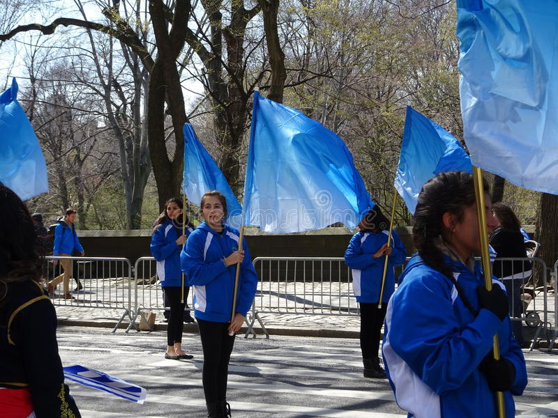 NYC Greek Independence Day Parade 2016 Part 2 20. The Federation of Hellenic Societies of Greater New York organizes the annual Greek Independence Day Parade in stock photos