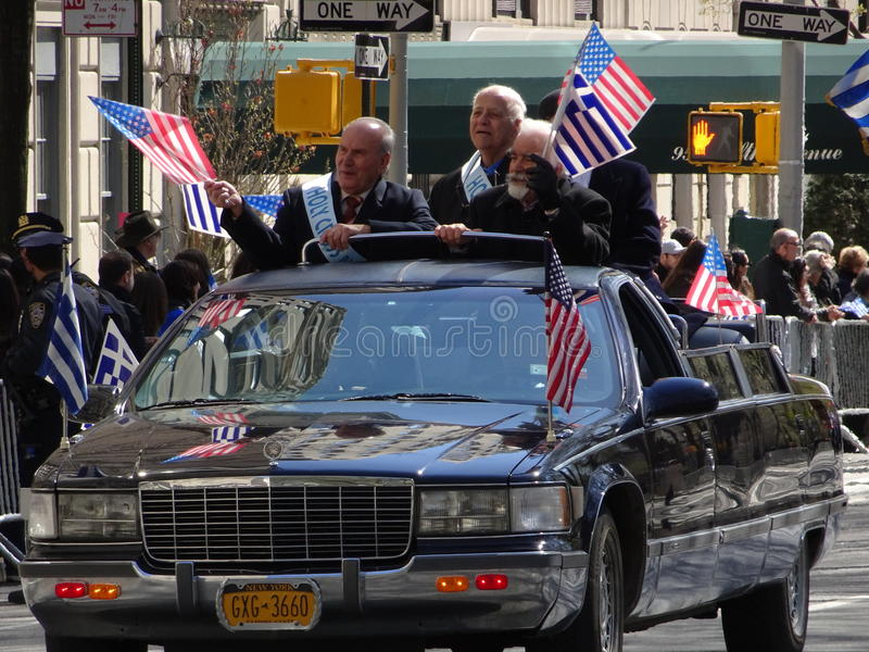NYC Greek Independence Day Parade 2016 Part 2 25. The Federation of Hellenic Societies of Greater New York organizes the annual Greek Independence Day Parade in stock images
