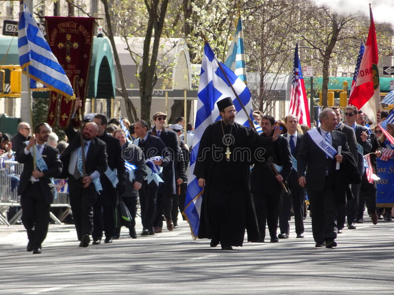 NYC Greek Independence Day Parade 2016 Part 2 27. The Federation of Hellenic Societies of Greater New York organizes the annual Greek Independence Day Parade in stock photography