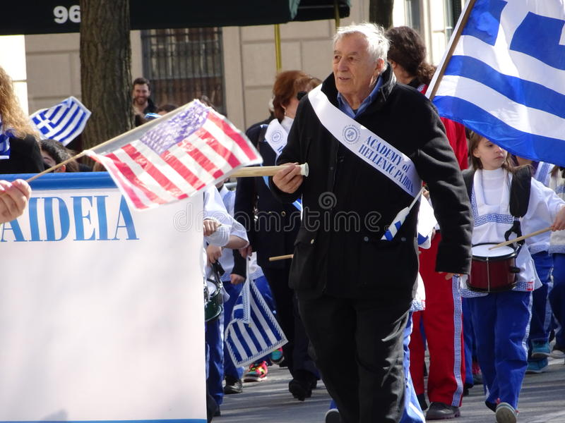 NYC Greek Independence Day Parade 2016 Part 5 49. The Federation of Hellenic Societies of Greater New York organizes the annual Greek Independence Day Parade in stock image