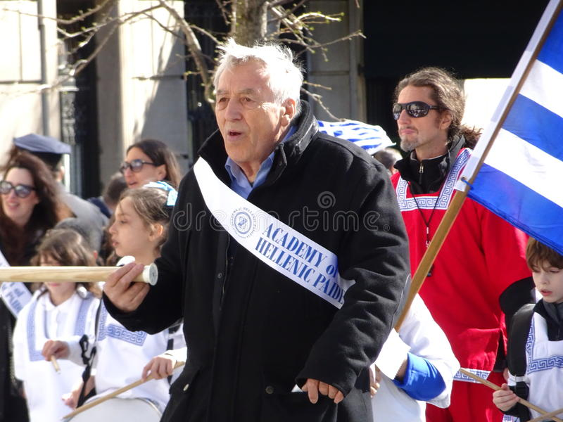 NYC Greek Independence Day Parade 2016 Part 5 50. The Federation of Hellenic Societies of Greater New York organizes the annual Greek Independence Day Parade in stock images