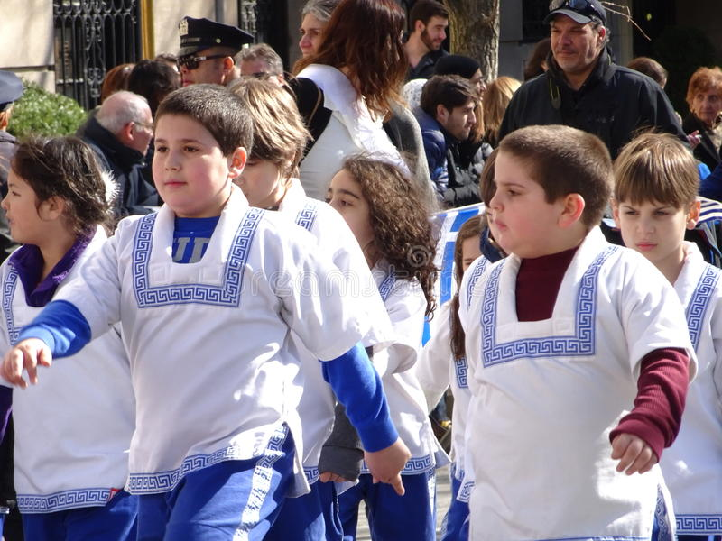 NYC Greek Independence Day Parade 2016 Part 5 52. The Federation of Hellenic Societies of Greater New York organizes the annual Greek Independence Day Parade in stock photography