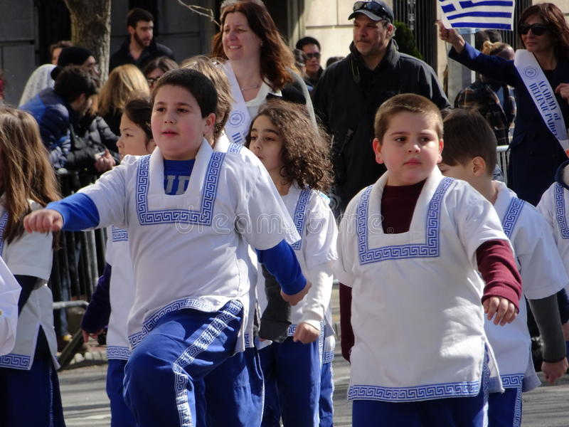 NYC Greek Independence Day Parade 2016 Part 5 53. The Federation of Hellenic Societies of Greater New York organizes the annual Greek Independence Day Parade in royalty free stock photo