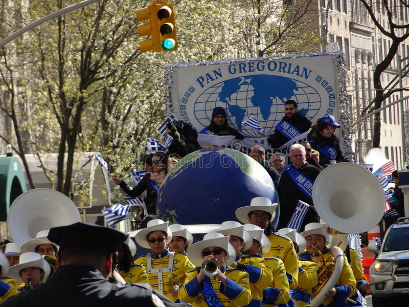 NYC Greek Independence Day Parade 2016 Part 5 54. The Federation of Hellenic Societies of Greater New York organizes the annual Greek Independence Day Parade in stock photo