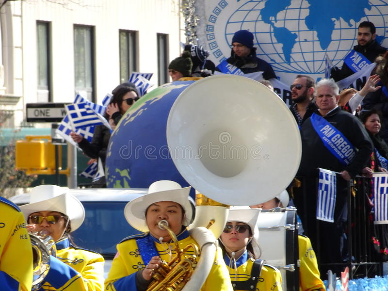 NYC Greek Independence Day Parade 2016 Part 5 57. The Federation of Hellenic Societies of Greater New York organizes the annual Greek Independence Day Parade in stock photos