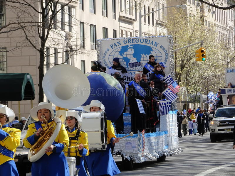 NYC Greek Independence Day Parade 2016 Part 5 58. The Federation of Hellenic Societies of Greater New York organizes the annual Greek Independence Day Parade in royalty free stock photography
