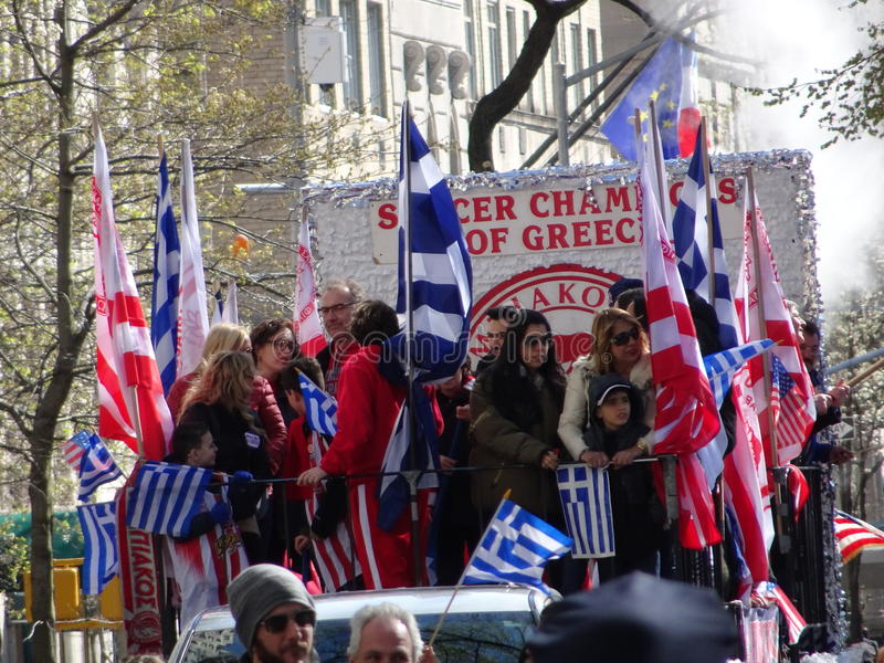 NYC Greek Independence Day Parade 2016 Part 5 62. The Federation of Hellenic Societies of Greater New York organizes the annual Greek Independence Day Parade in royalty free stock images