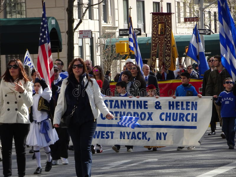 NYC Greek Independence Day Parade 2016 Part 5 65. The Federation of Hellenic Societies of Greater New York organizes the annual Greek Independence Day Parade in stock image