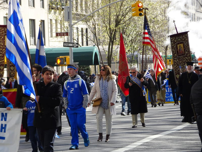 NYC Greek Independence Day Parade 2016 Part 5 66. The Federation of Hellenic Societies of Greater New York organizes the annual Greek Independence Day Parade in stock images