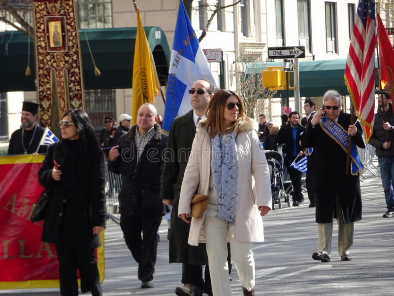 NYC Greek Independence Day Parade 2016 Part 5 67. The Federation of Hellenic Societies of Greater New York organizes the annual Greek Independence Day Parade in stock image
