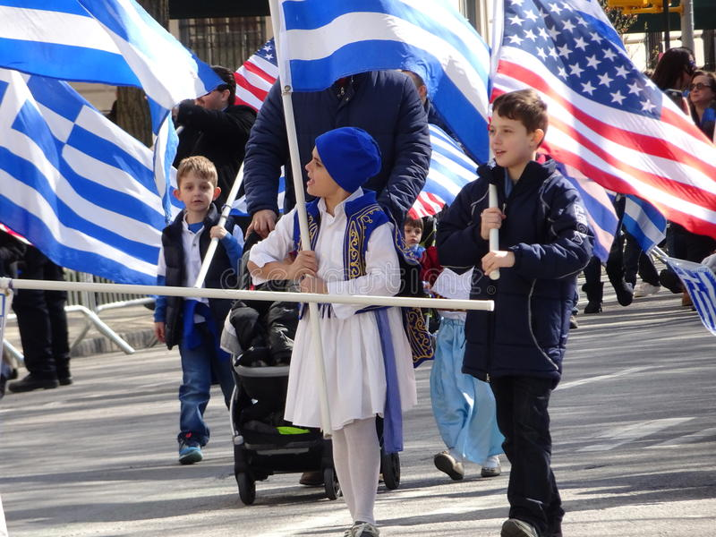 NYC Greek Independence Day Parade 2016 Part 5 72. The Federation of Hellenic Societies of Greater New York organizes the annual Greek Independence Day Parade in royalty free stock photography