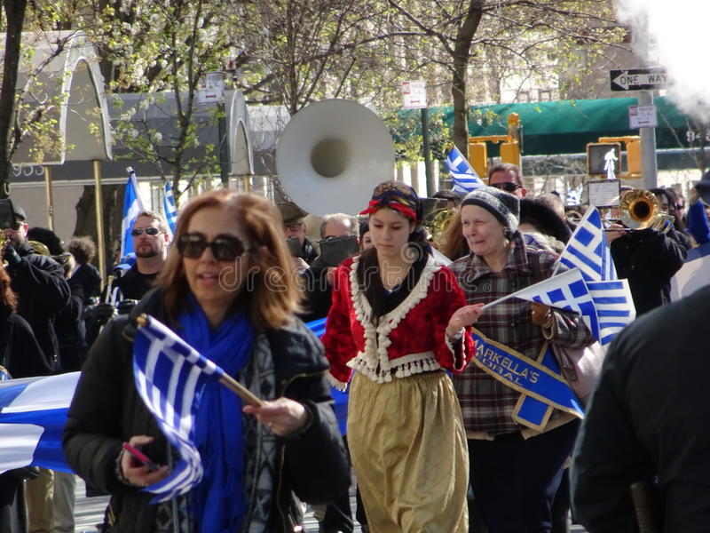 NYC Greek Independence Day Parade 2016 Part 5 73. The Federation of Hellenic Societies of Greater New York organizes the annual Greek Independence Day Parade in stock image