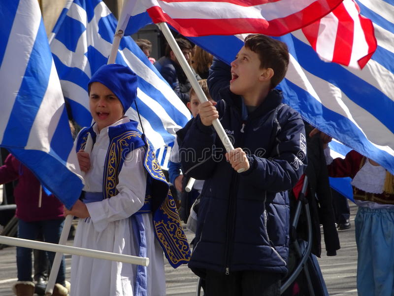 NYC Greek Independence Day Parade 2016 Part 5 74. The Federation of Hellenic Societies of Greater New York organizes the annual Greek Independence Day Parade in stock photography