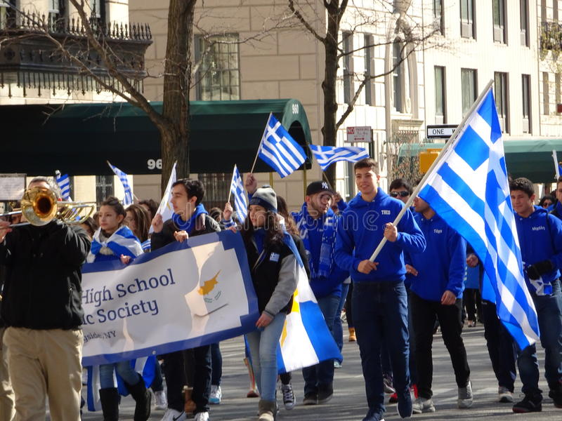 NYC Greek Independence Day Parade 2016 Part 5 81. The Federation of Hellenic Societies of Greater New York organizes the annual Greek Independence Day Parade in royalty free stock photo