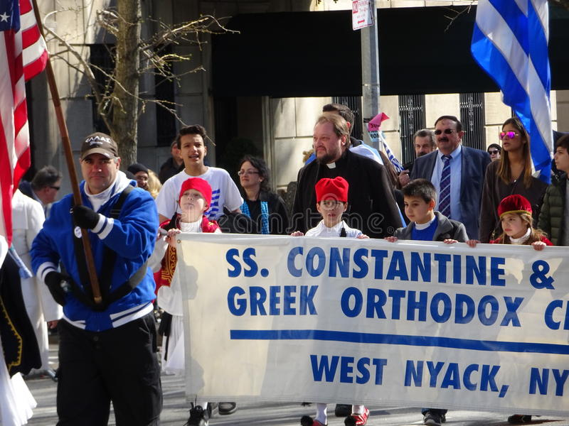NYC Greek Independence Day Parade 2016 Part 5 83. The Federation of Hellenic Societies of Greater New York organizes the annual Greek Independence Day Parade in stock photos