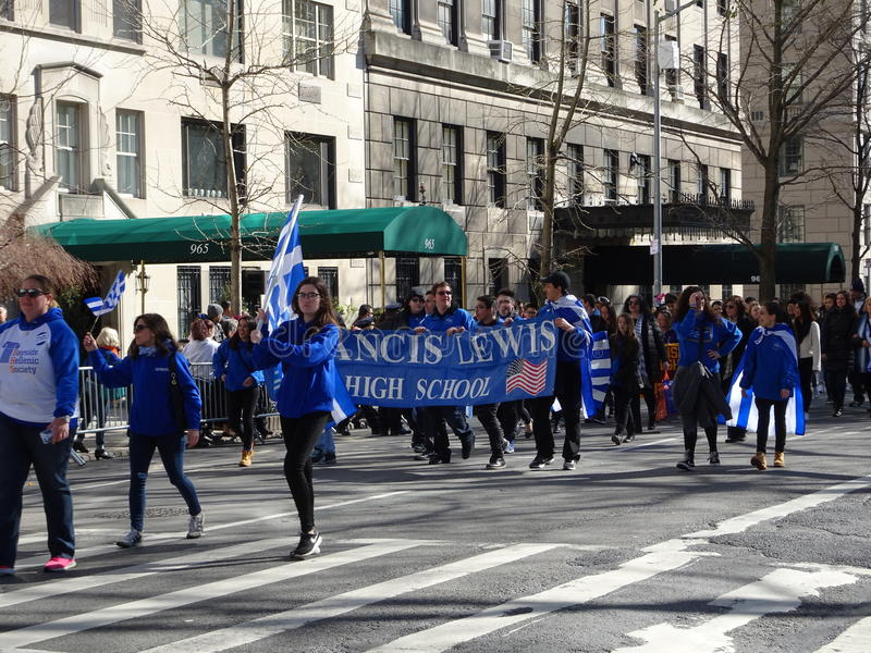 NYC Greek Independence Day Parade 2016 Part 5 90. The Federation of Hellenic Societies of Greater New York organizes the annual Greek Independence Day Parade in stock photography