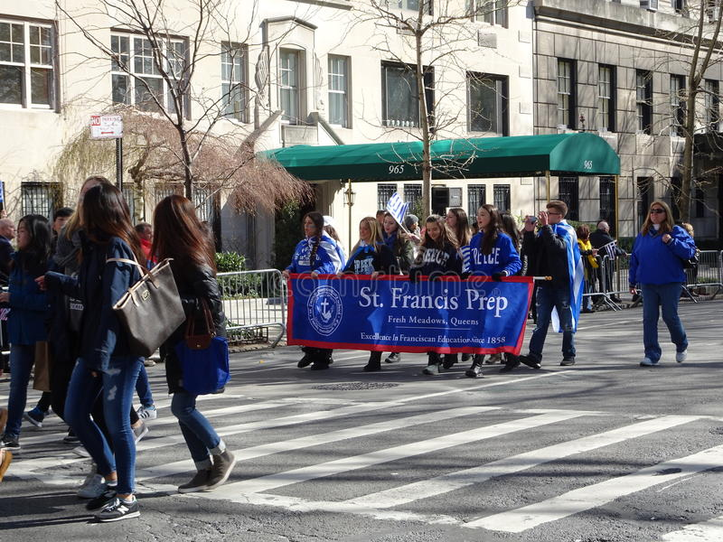 NYC Greek Independence Day Parade 2016 Part 5 91. The Federation of Hellenic Societies of Greater New York organizes the annual Greek Independence Day Parade in stock photography