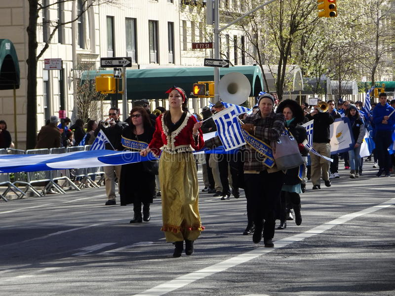 NYC Greek Independence Day Parade 2016 Part 5 93. The Federation of Hellenic Societies of Greater New York organizes the annual Greek Independence Day Parade in royalty free stock images