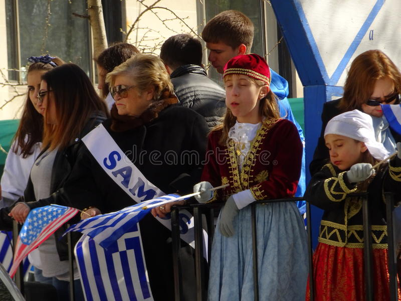NYC Greek Independence Day Parade 2016 Part 5 99. The Federation of Hellenic Societies of Greater New York organizes the annual Greek Independence Day Parade in royalty free stock photos