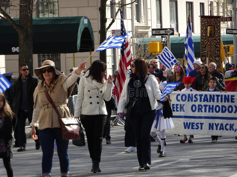 NYC Greek Independence Day Parade 2016 Part 6 2. The Federation of Hellenic Societies of Greater New York organizes the annual Greek Independence Day Parade in stock photos