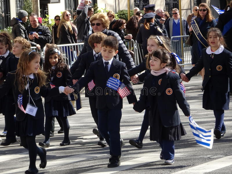 NYC Greek Independence Day Parade 2016 Part 6 3. The Federation of Hellenic Societies of Greater New York organizes the annual Greek Independence Day Parade in royalty free stock photography