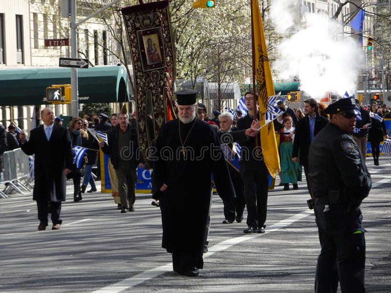 NYC Greek Independence Day Parade 2016 Part 6 4. The Federation of Hellenic Societies of Greater New York organizes the annual Greek Independence Day Parade in royalty free stock photos