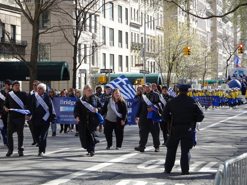 NYC Greek Independence Day Parade 2016 Part 6 10. The Federation of Hellenic Societies of Greater New York organizes the annual Greek Independence Day Parade in royalty free stock photos