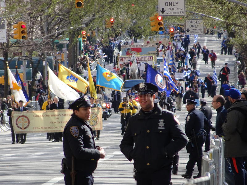 NYC Greek Independence Day Parade 2016 Part 6 11. The Federation of Hellenic Societies of Greater New York organizes the annual Greek Independence Day Parade in stock photo
