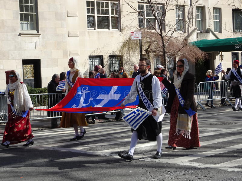 NYC Greek Independence Day Parade 2016 Part 6 17. The Federation of Hellenic Societies of Greater New York organizes the annual Greek Independence Day Parade in stock images
