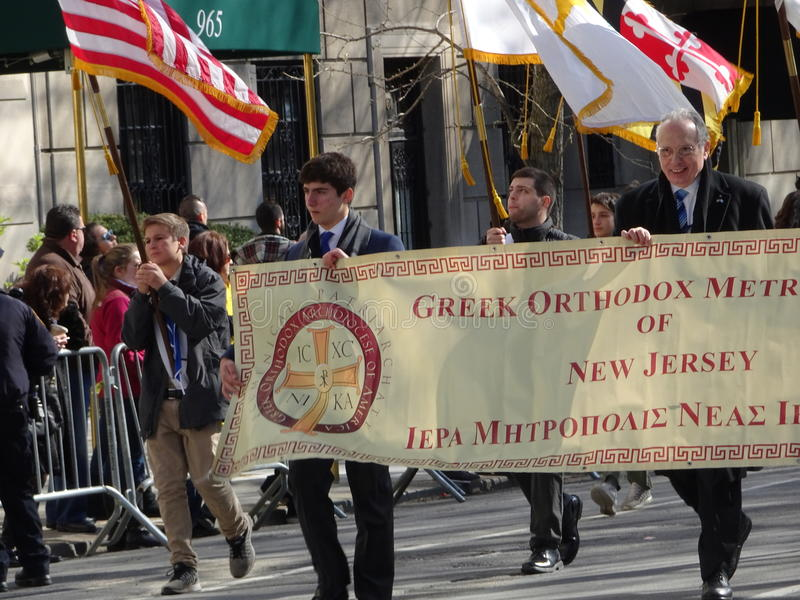 NYC Greek Independence Day Parade 2016 Part 6 23. The Federation of Hellenic Societies of Greater New York organizes the annual Greek Independence Day Parade in stock photos