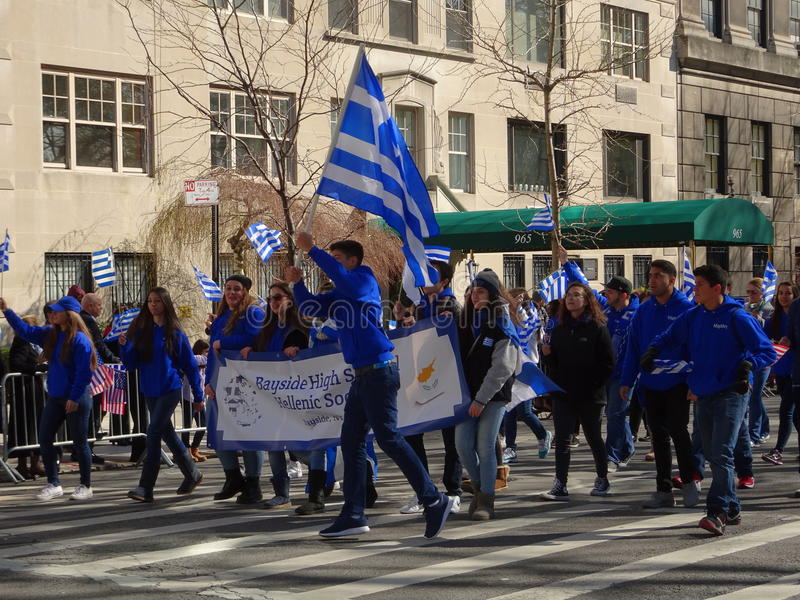 NYC Greek Independence Day Parade 2016 Part 6 29. The Federation of Hellenic Societies of Greater New York organizes the annual Greek Independence Day Parade in royalty free stock photos