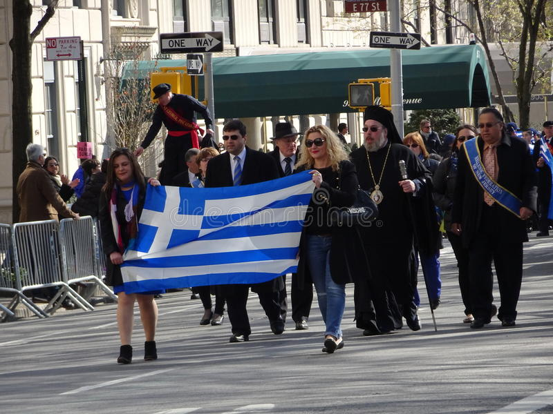 NYC Greek Independence Day Parade 2016 Part 6 36. The Federation of Hellenic Societies of Greater New York organizes the annual Greek Independence Day Parade in stock photography