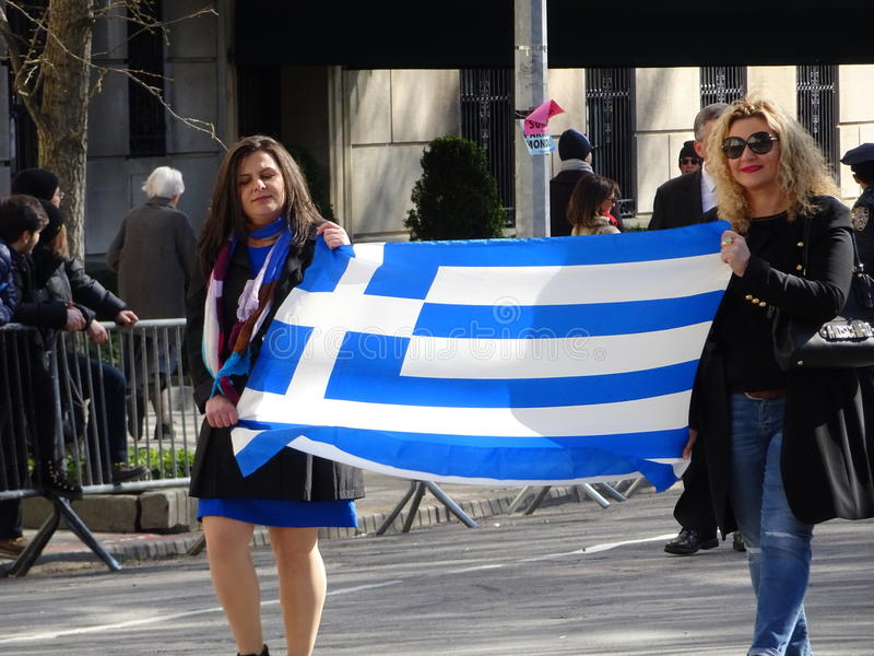 NYC Greek Independence Day Parade 2016 Part 6 38. The Federation of Hellenic Societies of Greater New York organizes the annual Greek Independence Day Parade in stock image