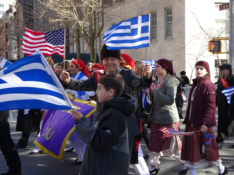 NYC Greek Independence Day Parade 2016 Part 6 52. The Federation of Hellenic Societies of Greater New York organizes the annual Greek Independence Day Parade in stock image