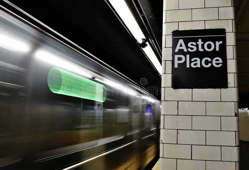 NYC High Speed Subway Train Arrival Astor Place New York City So Ho Streets royalty free stock photo