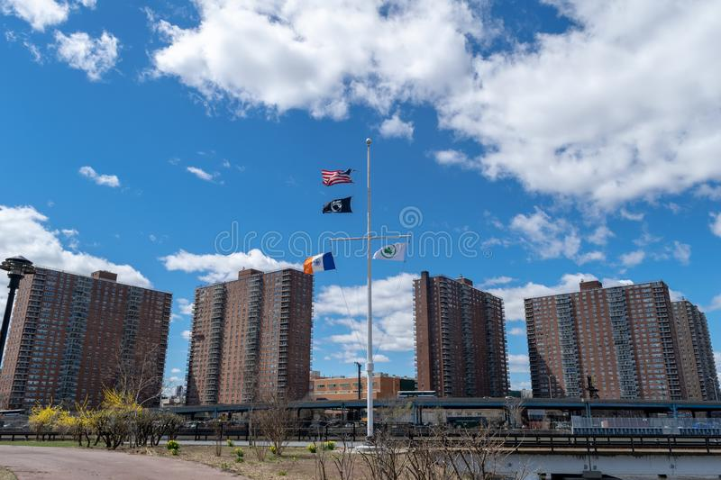 NYC housing projects on 145th Street and Malcolm X Boulevard in Harlem, as seen from the Bronx, New York City, USA stock photography