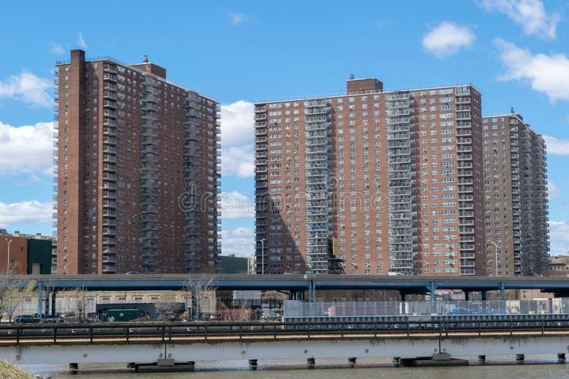NYC housing projects on 145th Street and Malcolm X Boulevard in Harlem, seen from the Bronx, New York City, USA royalty free stock photography