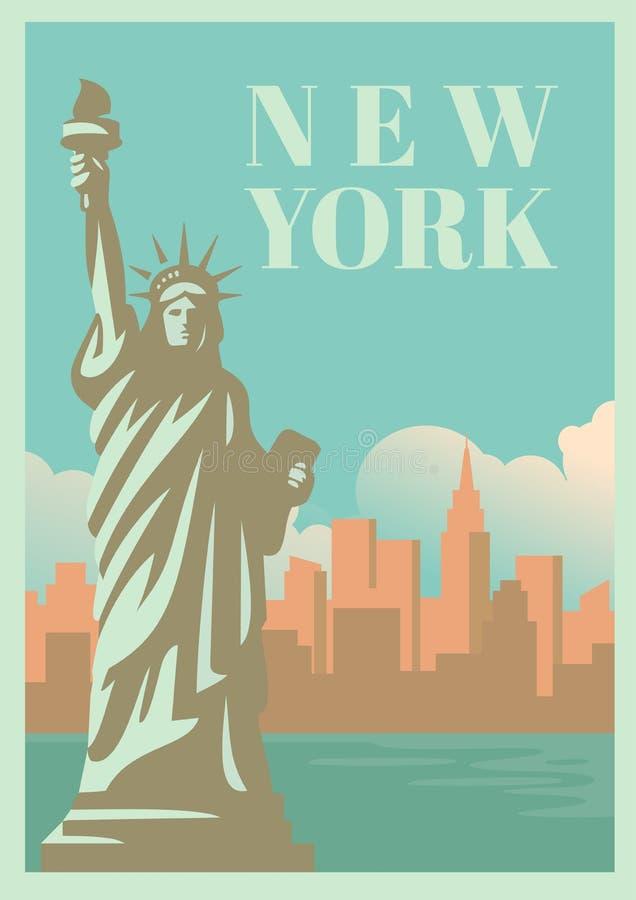 NYC i statua wolności z drapaczami chmur ilustracji