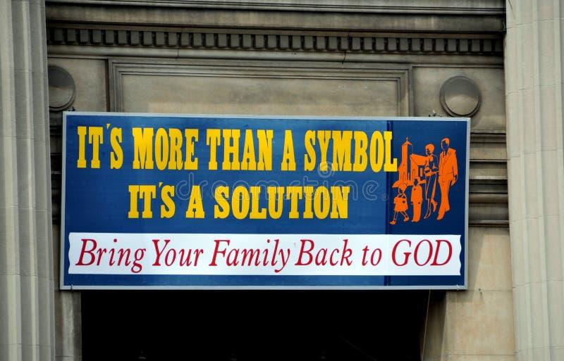 NYC: Kirche-Zeichen lizenzfreie stockfotografie