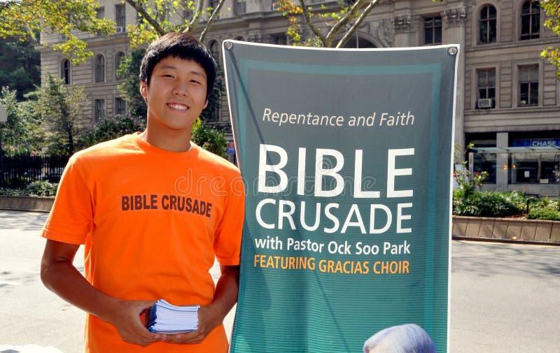 NYC: Korean Youth Promoting Bible Crusade Editorial Photo