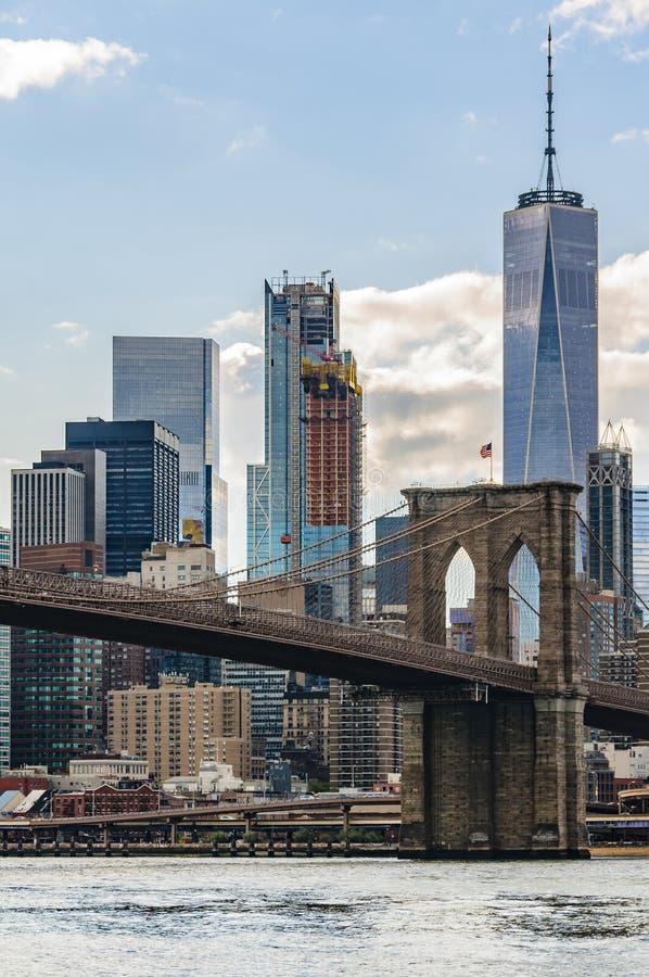 NYC linia horyzontu od DUMBO w Brooklyn, Nowy Jork, usa zdjęcie royalty free