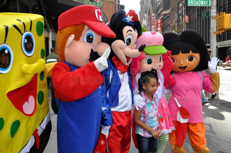 NYC: Little Girl With Cartoon Characters Editorial Photo