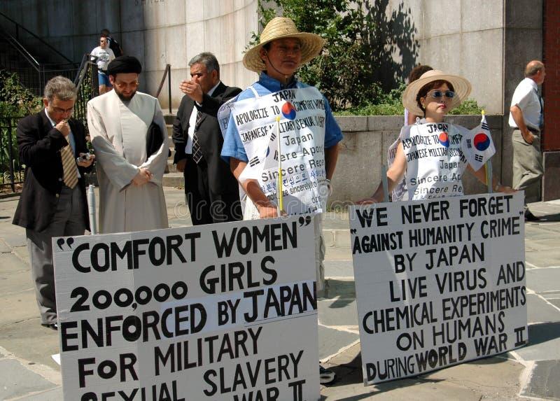 NYC: Los Protestors coreanos acercan al U.N. foto de archivo libre de regalías