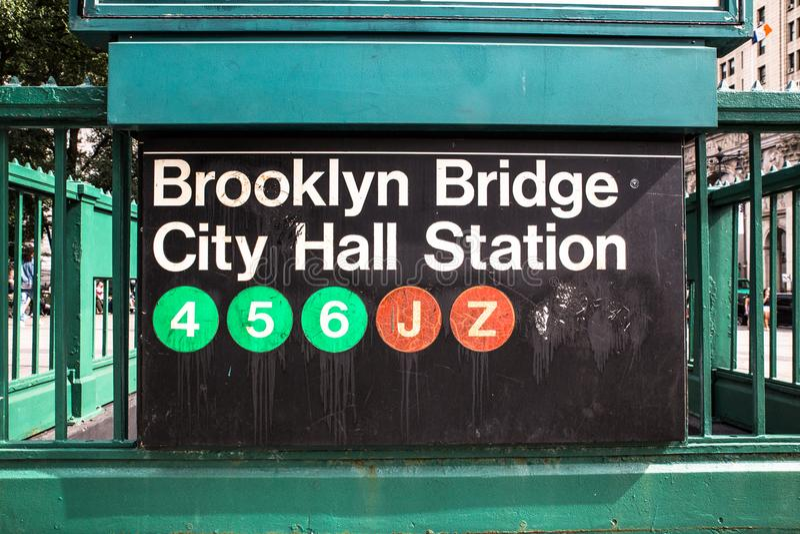 NYC metra znak obraz stock